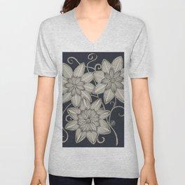 Schnee Blumen Unisex V-Neck