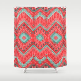 itzel - watermelon + teal Shower Curtain