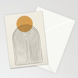 Gold Sun rainbow mountain Stationery Cards