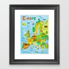 Map of Europe Framed Art Print