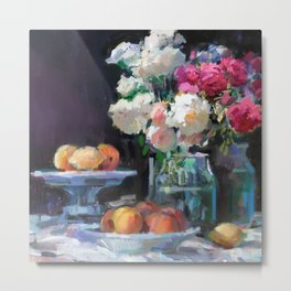 Still Life with White & Pink Roses Metal Print
