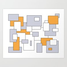 Squares - gray, orange and white. Art Print