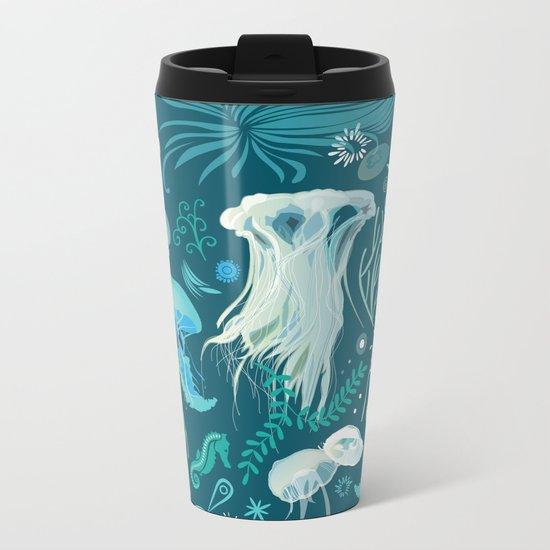 Aqua pattern Metal Travel Mug