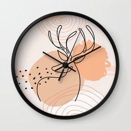 Deer Silhouette clip art, Line Art Outline, Terracotta Woodland Animals Clipart, Boho Print Wall Clock