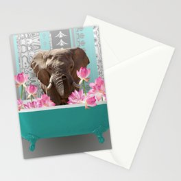 Elefant in bathtub with lotos flowers #society6 #animals Stationery Cards