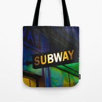 subway Tote Bags featuring Subway by Mark Spence