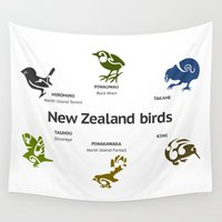 maori Wall Tapestries featuring New Zealand Birds by mailboxdisco