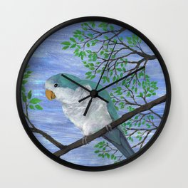 A painting of a quaker parrot Wall Clock