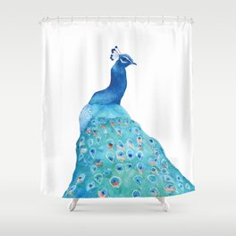 Peacock, teal bird, watercolor painting, home decor Shower Curtain