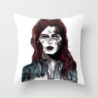 redhead Throw Pillows featuring Redhead by stephanierietkerk