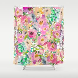 Elegant blush pink lavender green watercolor floral Shower Curtain