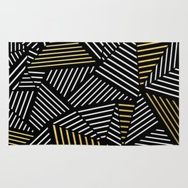 A Linear Black Gold Rug