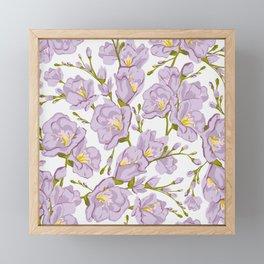 Lilac Freesia. Flowers pattern Framed Mini Art Print