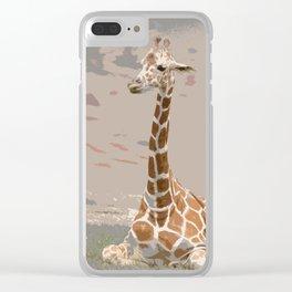Resting Giraffe Clear iPhone Case