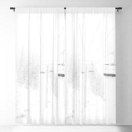 Ski Lift  // Black and White Snowy Climb Whiteout Foggy Minimal Epic Indie Alpine Photograph Blackout Curtain