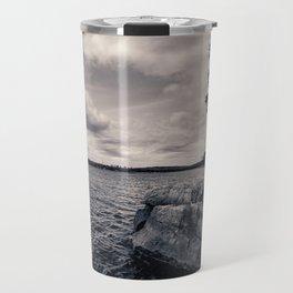 Black and White Boundary Waters Lake Travel Mug