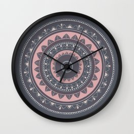 Pink mandala for self care Wall Clock