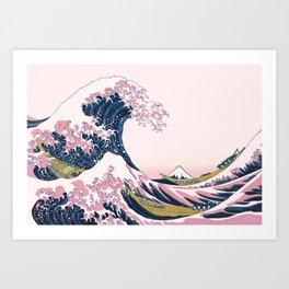 The Great Pink Wave off Kanagawa Art Print