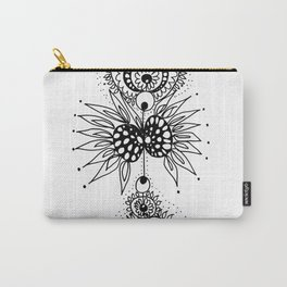 Abstract Black and White Organic Flowery Doodle Carry-All Pouch