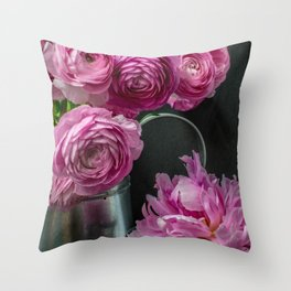 Ranunculus and Peony Flowers Still Life Throw Pillow