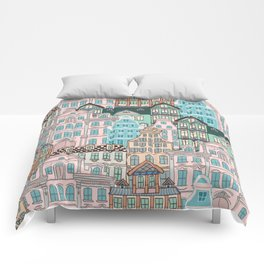 City Houses in Pastel Colours Comforters
