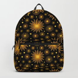 Abstract Hand-painted Golden Fireworks, Vintage Festive Pattern with Beautiful Acrylic Texture, Gold and Black Color   Backpack