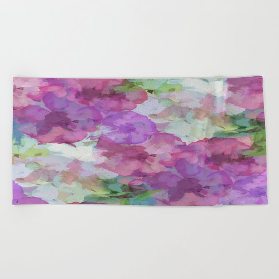 Sweet Peas Floral Abstract Beach Towel