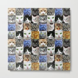 Cat Face Collage Metal Print