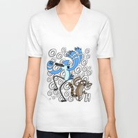 regular show V-neck T-shirts featuring Regular Show OOOOH! by Metal_Sonic