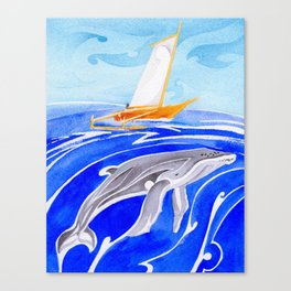 humpback whale and polynesian outrigger sail boat Canvas Print