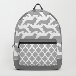 Grey and White Welsh Corgi Silhouettes Pattern Backpack