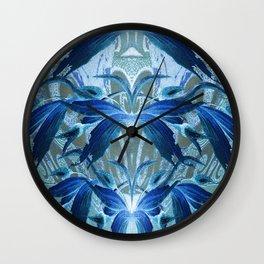 Blue Vintage Floral Oil Elegance Wall Clock