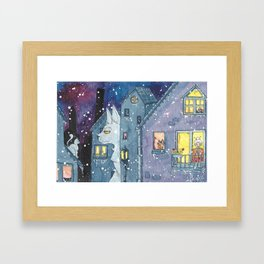 cat on night Framed Art Print