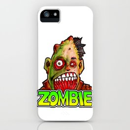 ZOMBIE title with zombie head iPhone Case