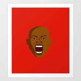 brown man screaming face art red Art Print