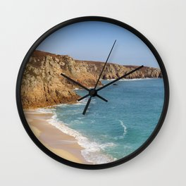 Turquoise sea at Porthcurno Beach in Cornwall, South England Wall Clock