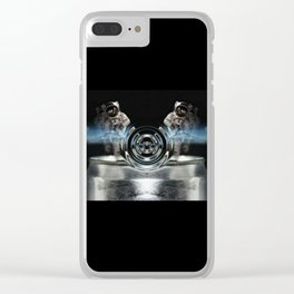 circle silver Clear iPhone Case