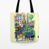vienna Tote Bags featuring Vienna  by Aleksandra Jevtovic