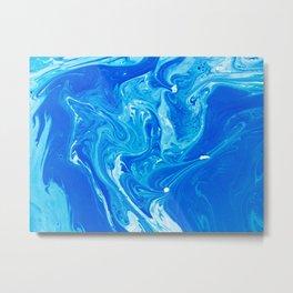 Trippy Blue Marble Metal Print