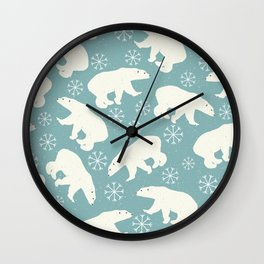 Polar Bears and Snowflakes - blue Wall Clock
