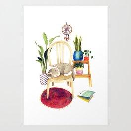 Cat Cozy Room Art Print