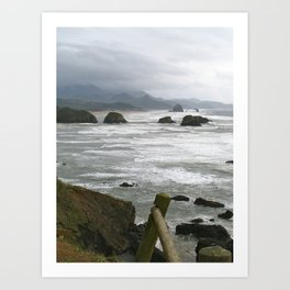 Stormy day at Cannon Beach Oregon  Art Print