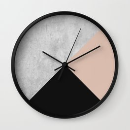 Colorblock: a bold, minimal, geographic piece in black, nude, and concrete texture Wall Clock