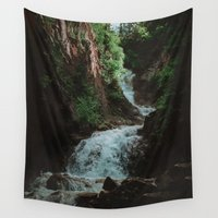 alaska Wall Tapestries featuring Alaska Waterfall by Leah Flores