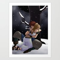 chrono trigger Art Prints featuring Chrono and Marle by Fyrielle