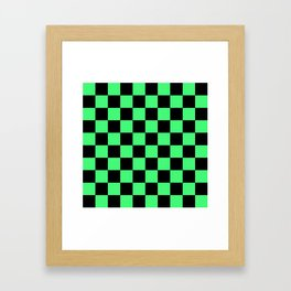 Black and Green Checkerboard Pattern Framed Art Print