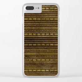 Golden Tribal Pattern on Dark wood Clear iPhone Case