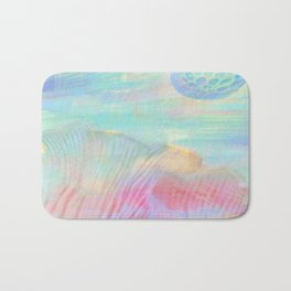 HOPSCOTCH SHRINE, a spaceship flying through a pastel art piece Bath Mat