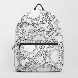Abstract geometrical black white hand painted mandala Backpack