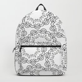 Abstract geometrical black white hand painted mandala Backpack